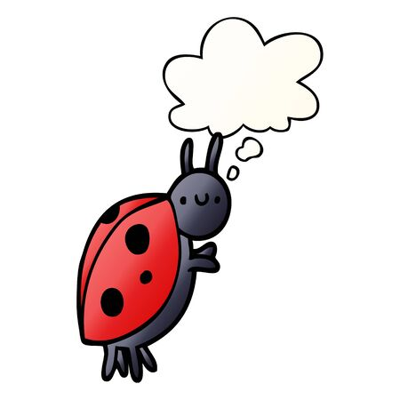cartoon ladybug with thought bubble in smooth gradient style