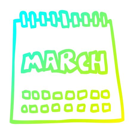 cold gradient line drawing of a cartoon calendar showing month of march Stok Fotoğraf - 129997062