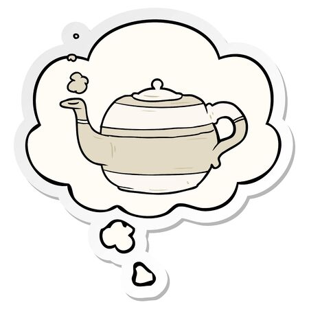 cartoon teapot with thought bubble as a printed sticker Illusztráció