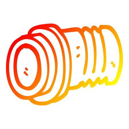 warm gradient line drawing of a cartoon pipe fitting Ilustração
