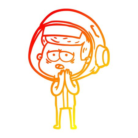 warm gradient line drawing of a cartoon tired astronaut 向量圖像