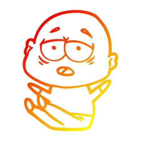 warm gradient line drawing of a cartoon tired bald man 版權商用圖片 - 130010212
