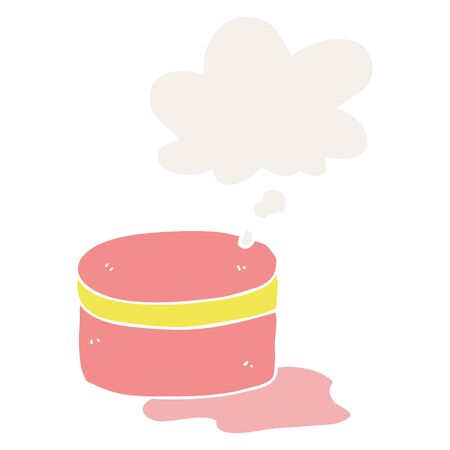 cartoon beauty lotion tub with thought bubble in retro style Ilustração