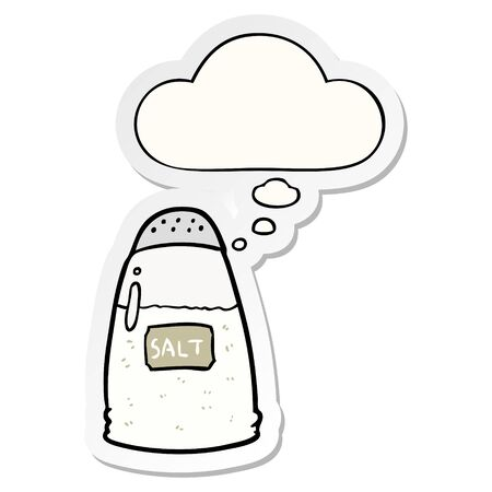 cartoon salt with thought bubble as a printed sticker Illustration