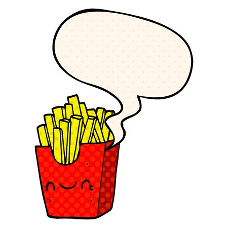 cartoon fries in box with speech bubble in comic book style Illusztráció