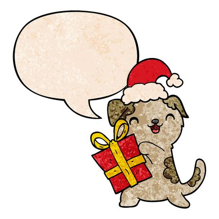 cute cartoon puppy with christmas present and hat with speech bubble in retro texture style Imagens - 130071186