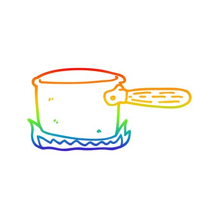 rainbow gradient line drawing of a cartoon cooking pan