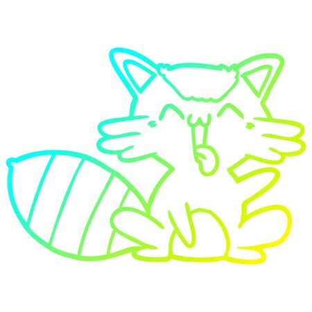 cold gradient line drawing of a cute cartoon raccoon Banque d'images - 130130443