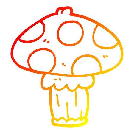 warm gradient line drawing of a cartoon mushroom  イラスト・ベクター素材
