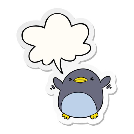 cute cartoon penguin flapping wings with speech bubble sticker Иллюстрация