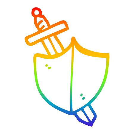 rainbow gradient line drawing of a cartoon sword and shield