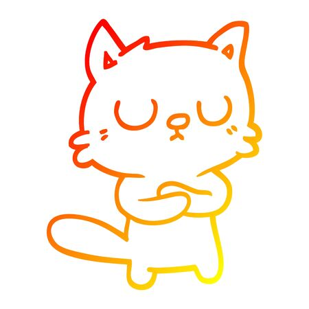 warm gradient line drawing of a cartoon cat