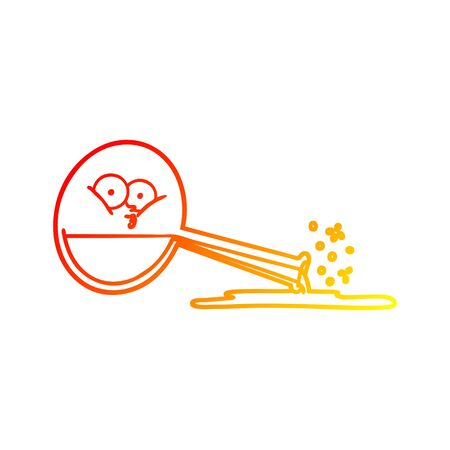 warm gradient line drawing of a cartoon spilled chemicals  イラスト・ベクター素材
