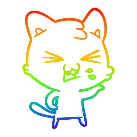 rainbow gradient line drawing of a cartoon cat hissing