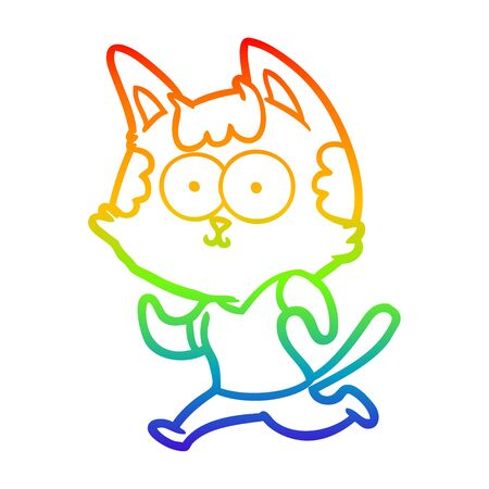 rainbow gradient line drawing of a happy cartoon cat jogging
