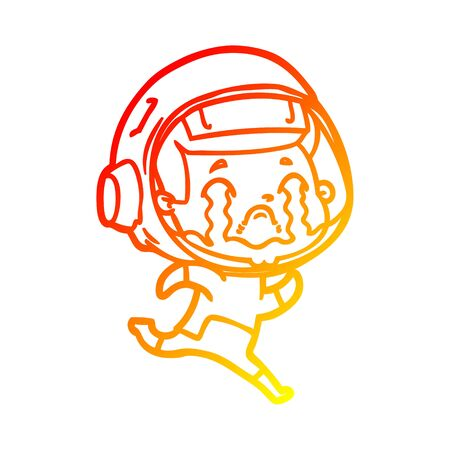 warm gradient line drawing of a cartoon crying astronaut Фото со стока - 130130668