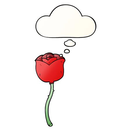 cartoon rose with thought bubble in smooth gradient style Illustration