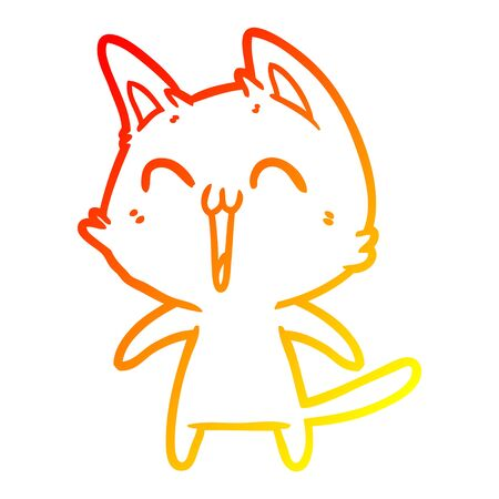 warm gradient line drawing of a happy cartoon cat meowing