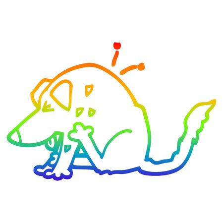 rainbow gradient line drawing of a cartoon dog scratching Illustration