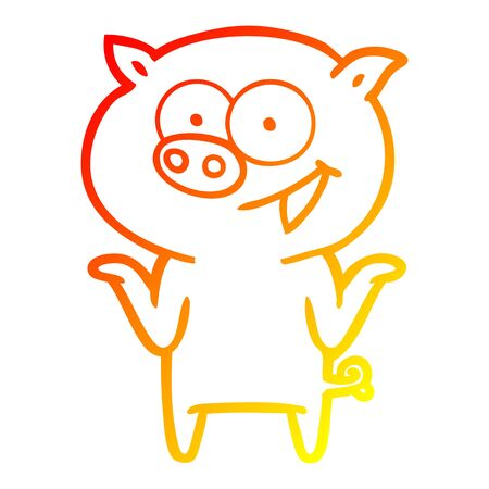 warm gradient line drawing of a cartoon pig with no worries Çizim