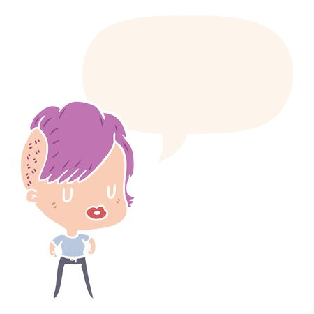 cartoon girl with punk hipster haircut with speech bubble in retro style