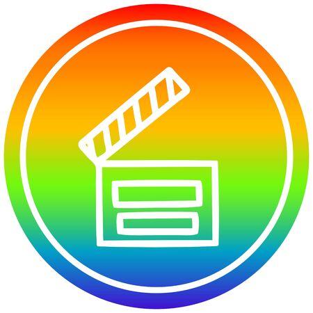 movie clapper board circular icon with rainbow gradient finish