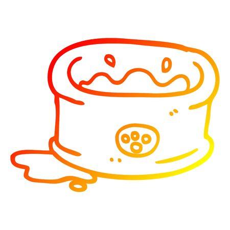 warm gradient line drawing of a cartoon pet bowl Banque d'images - 130130835
