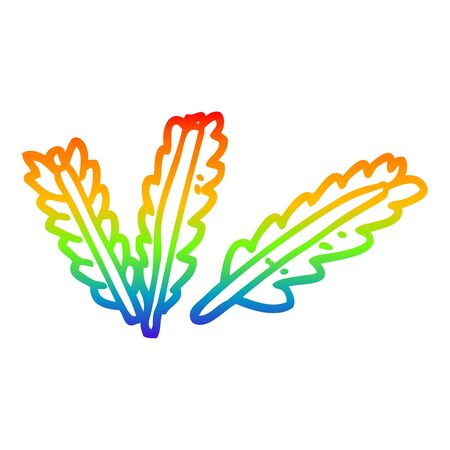 rainbow gradient line drawing of a cartoon scattered leaves