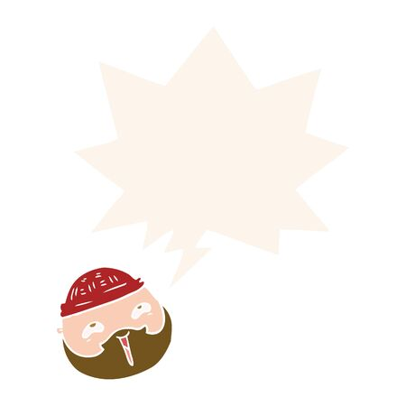 cartoon male face with beard with speech bubble in retro style Ilustracja