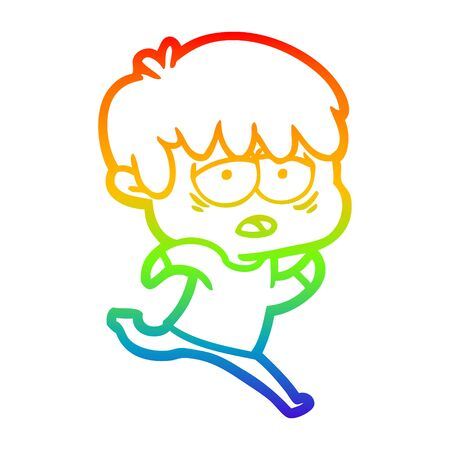 rainbow gradient line drawing of a cartoon exhausted boy 向量圖像
