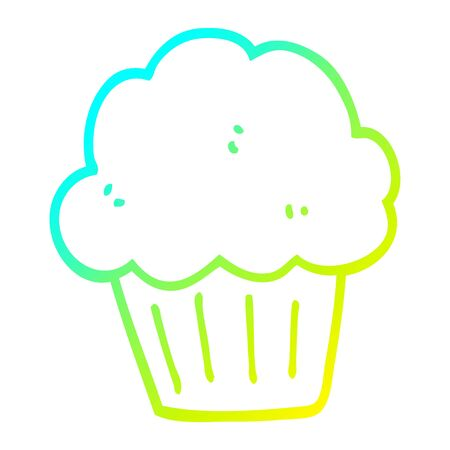 cold gradient line drawing of a cartoon  muffin