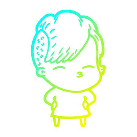 cold gradient line drawing of a cartoon squinting girl 向量圖像