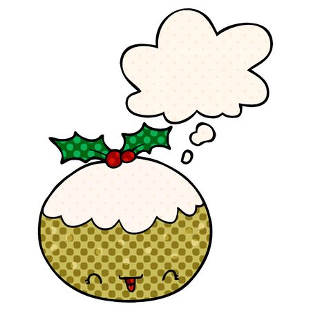 cute cartoon christmas pudding with thought bubble in comic book style Illustration
