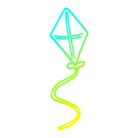 cold gradient line drawing of a cartoon kite
