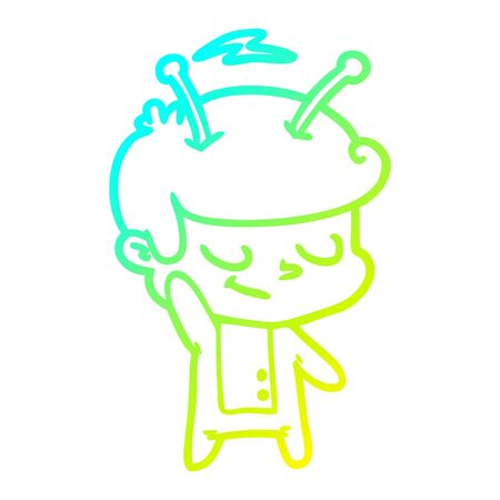 cold gradient line drawing of a friendly cartoon spaceman 일러스트