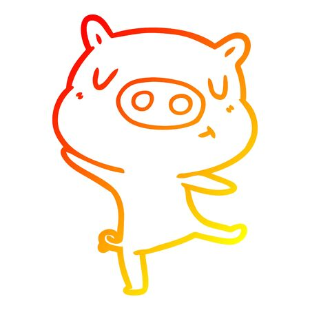 warm gradient line drawing of a cartoon pig dancing Illustration