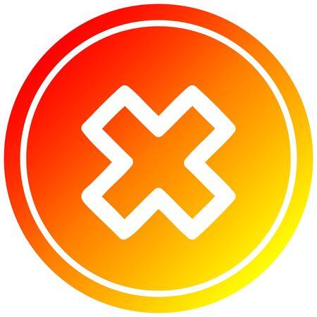 icono circular de signo de multiplicación con acabado degradado cálido