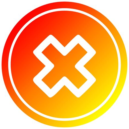 multiplication sign circular icon with warm gradient finish
