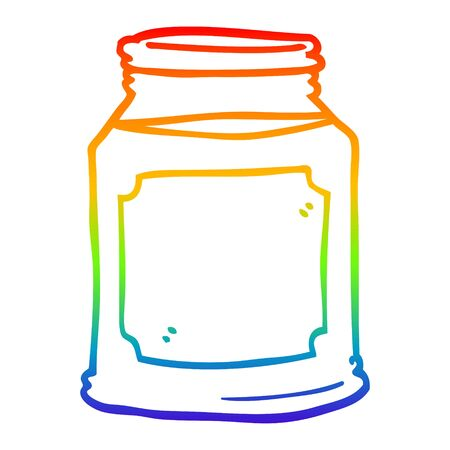 rainbow gradient line drawing of a cartoon candle in jar
