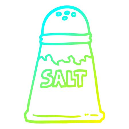 cold gradient line drawing of a cartoon salt shaker Illusztráció