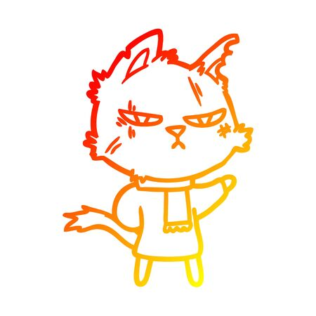 warm gradient line drawing of a tough cartoon cat in winter scarf Ilustracja