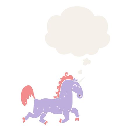 cartoon unicorn with thought bubble in retro style Иллюстрация