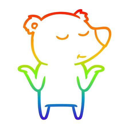rainbow gradient line drawing of a happy cartoon bear shrugging shoulders Ilustração