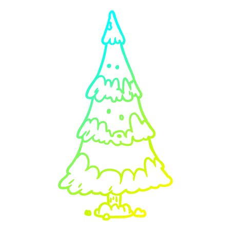 cold gradient line drawing of a snowy christmas tree