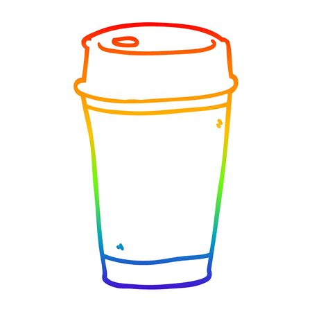 rainbow gradient line drawing of a cartoon take out coffee