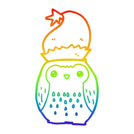 rainbow gradient line drawing of a cute cartoon owl wearing christmas hat