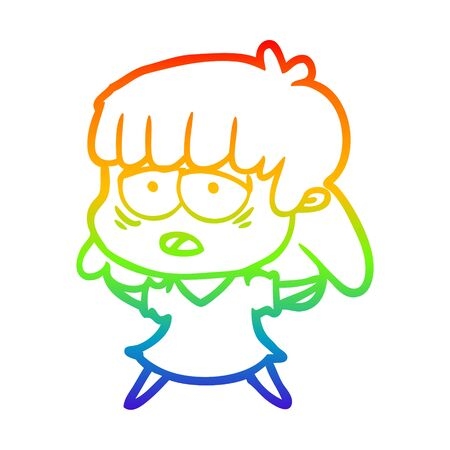 rainbow gradient line drawing of a cartoon tired woman