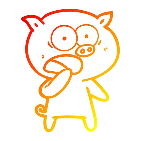 warm gradient line drawing of a shocked pig cartoon