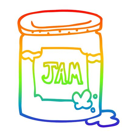 rainbow gradient line drawing of a cartoon jam pot