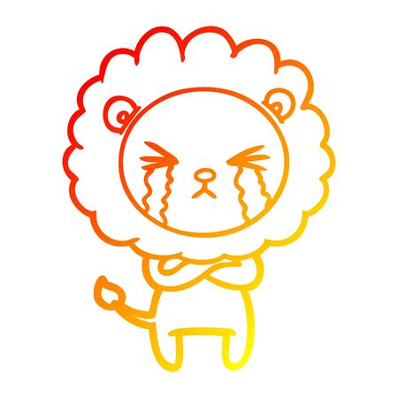 warm gradient line drawing of a cartoon crying lion with crossed arms Illustration